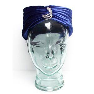 Vintage 1950s Royal Blue Jeweled Turban Head Piece